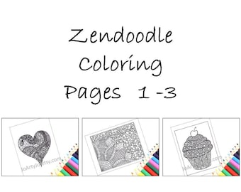 Printable Coloring Pages, Zentangle Inspired Pages 1-3: Heart, Cupcake and Flower. Instant Download.