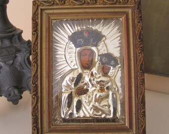 Vintage Framed Our Lady Of Czestochowa Polish Icon Madonna and Child Bejeweled