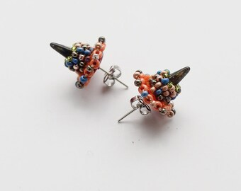 Spike Stud Earrings / Birthday Jewelry Boho / Arsty Earrings Glam Rock / Petite Bijoux / Stand out jewellery gift