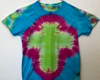 Hot Pink, Lime, Blue Cross Tie Dye T-Shirt, Adult Size Large