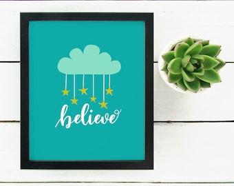 Believe - Cloud and Stars - Art Print