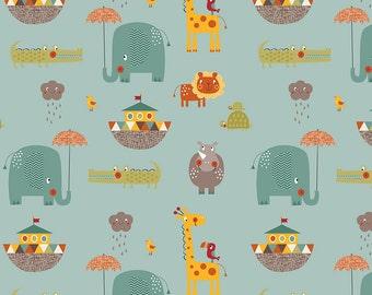 Giraffe Crossing 2 - Main Teal - Riley Blake Designs - Blue Animals Elephant - Cotton Woven Quilt Fabric - choose your cut