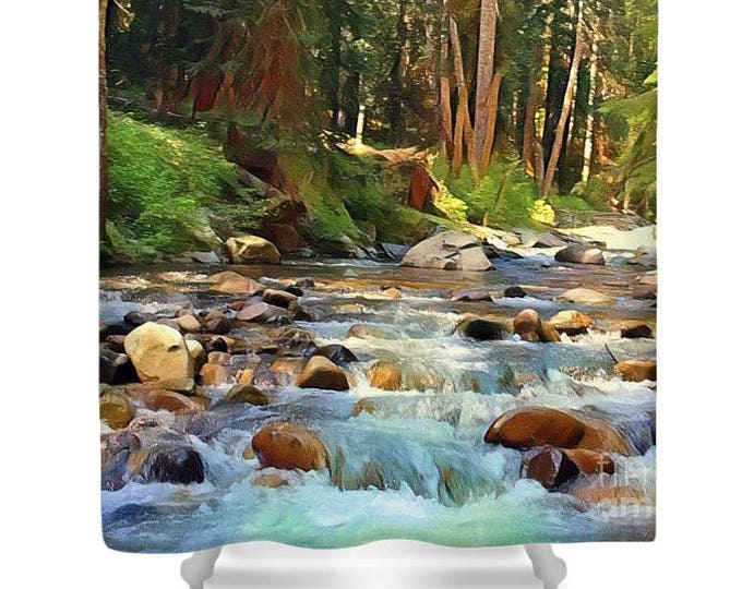 """Shower Curtain """"Barefoot Delight"""" River"""
