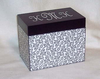 Recipe Box -  Black and White Swirls Personalized Wooden  Recipe Box - Keepsake Box -Trinket Box