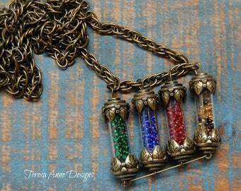 Bead Filled Vials House Points Necklace