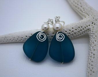 Teal Sea Glass Earrings Seaglass Earrings Sea Glass Jewelry Beach Glass Earrings Beach Glass Jewelry Beach Jewelry Seaglass Jewelry Maui 094