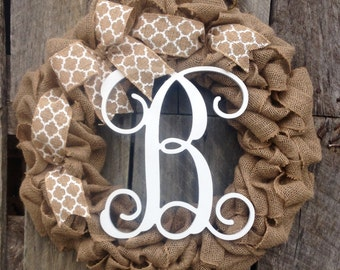 burlap wreath initial door hanger wreath monogram wreath monogram door  initial wreath gift idea chevron wreath Christmas initial wreath