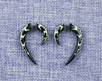 "Fake Gauge Earrings, ""Claw of the Dragon"" (mop.) Horn, mother of pearl, Naturally Organic, Hand Carved, Tribal"