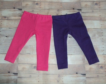 """2 Pair Knit Leggings for American Girl Dolls ~ Pink, Purple ~ Clothes for 18"""" Dolls"""