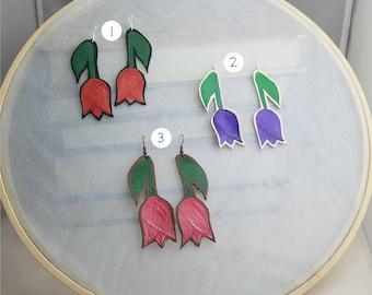 Hang Low Sweet Tulip Leather Painted Earrings
