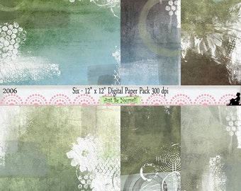 12 x 12 inch Grungy Blue Brown Green Instant Download Scrapbook Background Art Papers Set of 6 Digital Cardstock JPEG Commercial Use 2006