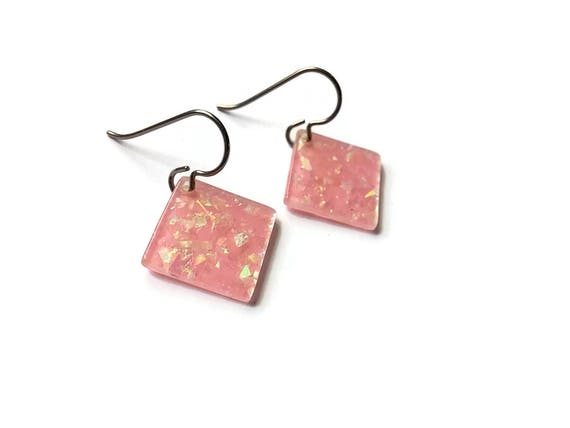 Pink square drop dangle earrings - Hypoallergenic pure titanium and resin earrings