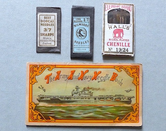 Sewing needle packets, collectable, vintage. The Army And Navy Needle Book, needle pkts. for Hall's Elephant Brand, Milwards, Dorcas. c