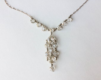Crystal necklace | Silver necklace | Vintage crystal drop necklace | Crystal jewelry | Gifts for her | Mother's day gift |