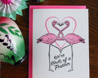 letterpress we're birds of a feather pink flamingo greeting card flock together love friendship retro pink flamingo snow birds florida