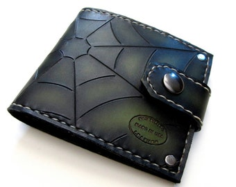 Mens Custom Leather Wallet Green and Black Spider Web Tooled Design Bifold Snap Hand Dyed Can Be Personalized Menswear