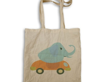 elephant driving a convertible Tote bag v988r
