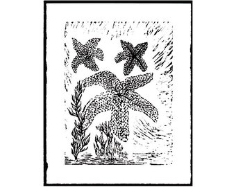 Starfish (3), Linocut print, starfish linocut, love starfish decor, love print nautical, nautical decor starfish, Beach house decor.