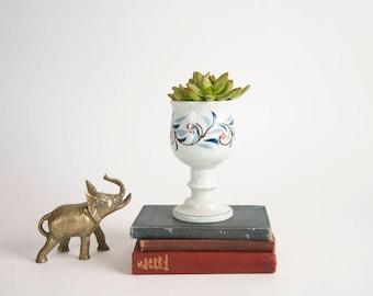 Vintage Hand Painted Goblet Chalice Succulent Planter Blue White Porcelain