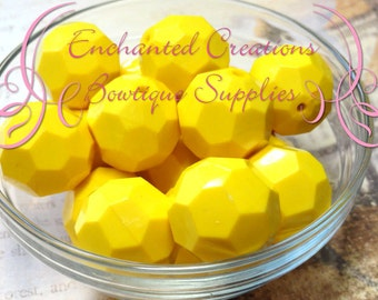 20mm Solid Yellow Hexagon Beads 10pcs, Chunky Beads, Bubblegum Beads, Gumball Beads, Dark Blue Faceted Beads, Hexagon Beads