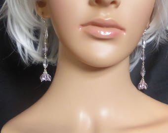 Delicate Facetted Pale Amethyst Drop Earrings