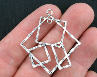 4 Squares Charms Antique Silver Tone Abstract Design - SC3444