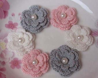 6 Crochet Flowers With Pearls In Gray, Off White, Lt  Pink YH-011
