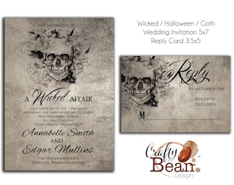 Wicked / Halloween / Horror / Gothic Wedding Invitation DIY Printable