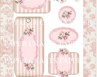 Papercraft Pink Floral Images Frames Collage Sheet Instant Download PDF
