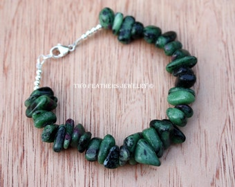 Ruby In Zoisite Bracelet - Ruby Bracelet - Chunky Gemstone Bracelet - Sterling Silver Bracelet - July Birthstone Bracelet - Two Feathers