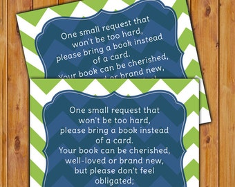 Navy Lime In Lieu of card Book Baby Shower Invitation Inserts Instead of a card Navy Blue Lime Green Chevron Printable PDF--Instant Download