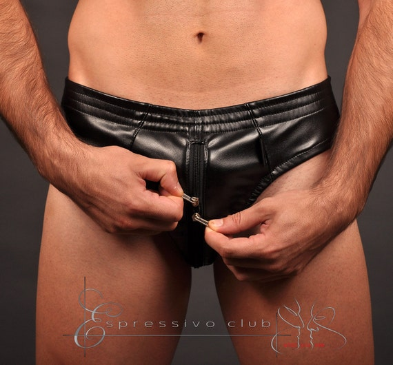 Mens leather briefs with leather-lined front zip, Black leather fetish underwear, Hot mens underwear / Best man gifts / Sizes