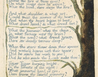 The Illuminated Prints of William Blake. From Songs of Experience: The Tyger, Illustrated Page and Poem, c.1790. Fine Art Reproduction.