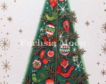 DIGITAL DOWNLOAD Beautiful Vintage Mid Century Modern Chritmas Tree Greeting Card Image