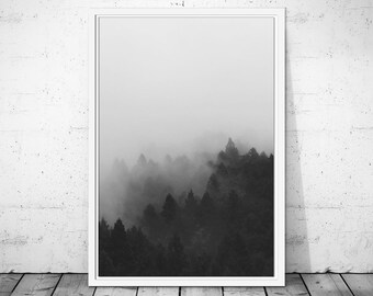 Forest Wall Print, Forest Art, Nature Print, Black and White Forest, Woodlands Art, Nature Wall Art, Forest Photo, Woodlands Print
