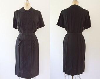 1950s dress / black shirt dress / Mr. Jack dress