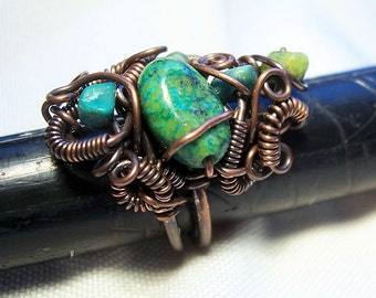 Copper Ring/ Antiqued Copper and Australian Jasper/  Sculpture Ring / Creat your own style/ SAMPLE PHOTO