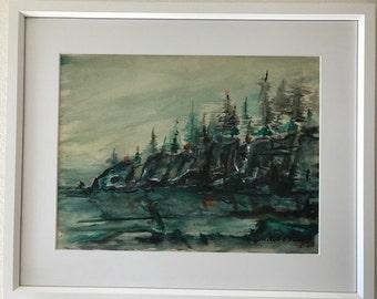 Wintery Landscape. Evokes a tranquil winter scene using deep, rich blues.
