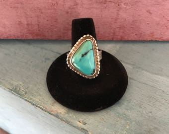Size 9 Turquoise Sterling Silver Stamped Ring 9g