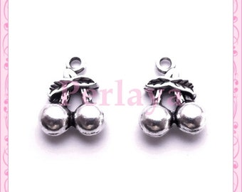 Set of 15 silver cherry charms REF506X3