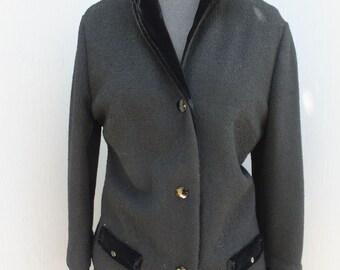 Vintage Butte Knit Two Piece Suit, Size 12, Black Wool Suit, Winter Suit, Wool and Velvet, Formal Suit