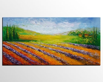 Original Painting, Larvender Field Painting, Canvas Art, Landscape Painting, Abstract Art, Large Wall Art, Abstract Art, Canvas Art Decor