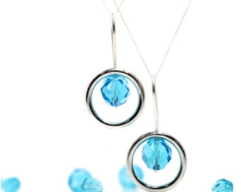 Round Silver Dangle Earrings Neon Blue Vintage Glass Beads Aqua Pool Water Drops Summer Accessory Modern Minimalistic Gift Idea - Dive Rings