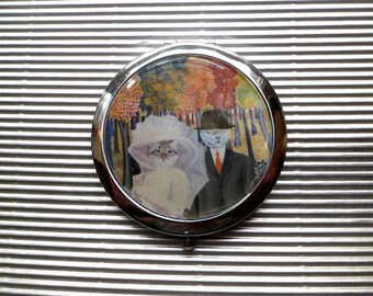 Large Pocket mirror with cat: feline wedding