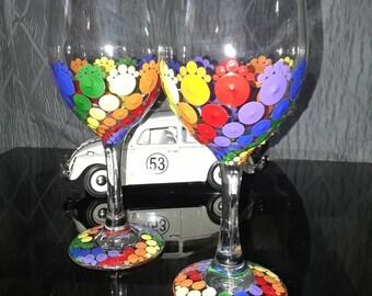 Set of 4 Rainbow wine glasses