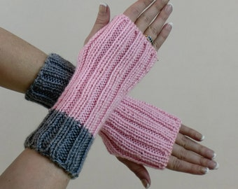 Knit Fingerless Gloves - Pink & Grey Ribbed Arm Sleeves - Mittens - Fingerless Mitts - Hobo Wrist Warmers - Texting or Touch Screen Gloves