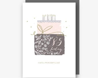 85th Birthday Card - 85 Today - Have a Wonderful Day - With Gold Foil Finishing