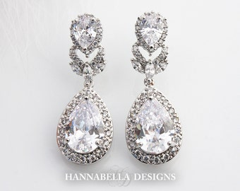 Marisole - Cubic Zirconia Wedding Earrings, Swarovski Bridal Earrings, Crystal Teardrop Earrings, CZ Drop Earrings, Bridesmaids Jewelry