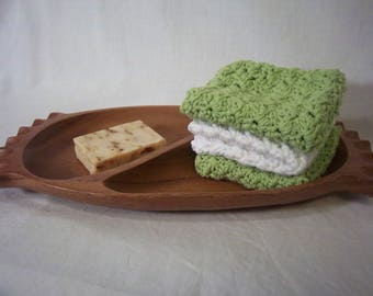 Recycled Cotton Wash Cloths Dish Cloths Crochet Green and White Set of 3 Three