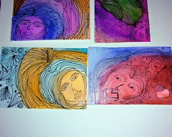 Set of 4 Art Cards for Art Journals